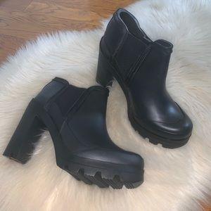 Hunter original high heeled rubber boots size 6